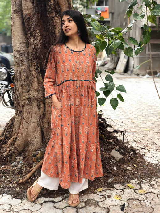 Peach Pleated Kurta