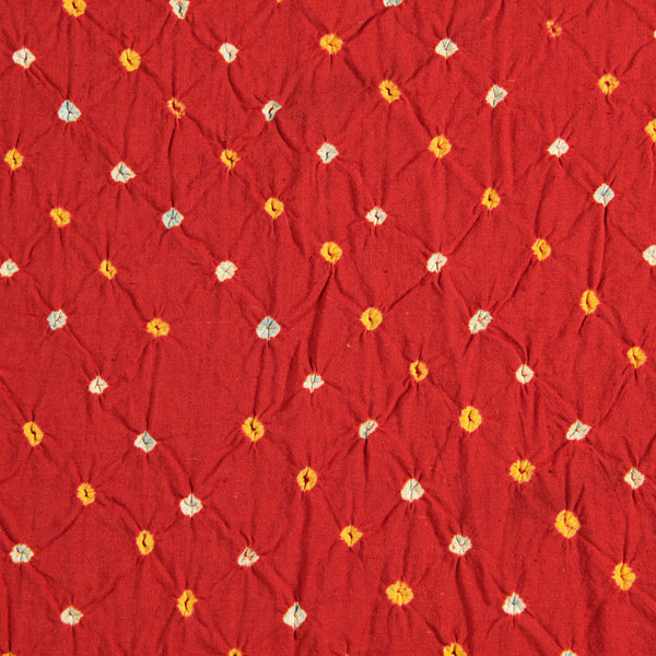 Orange - White Bandhej Cotton Fabric (3.5 meters)