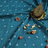 Teal Blue Bandhej Cotton Fabric (2.5 meters)