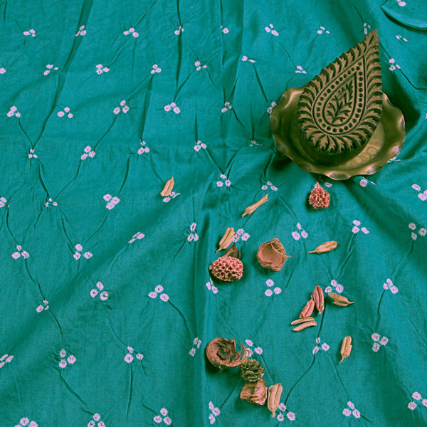 Teal Green Bandhej Cotton Fabric (2.5 meters)