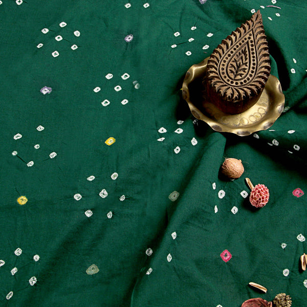 Dark Green Bandhej Cotton Fabric (2.5 meters)