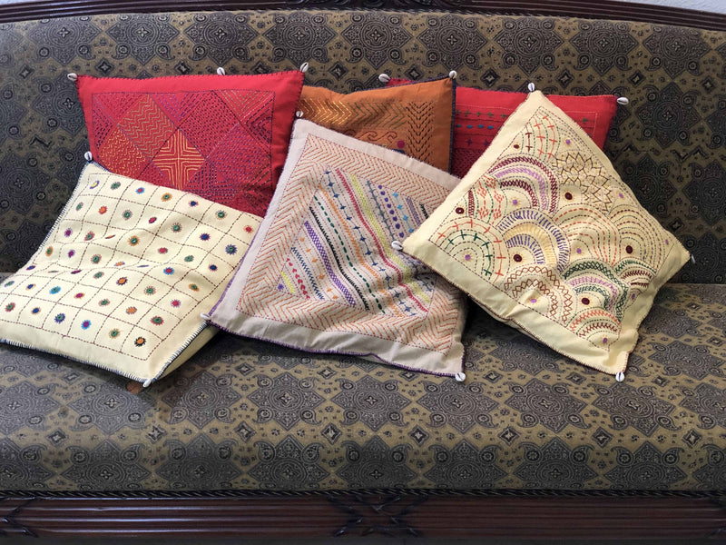 Beige Bordered Hand Embroidered Cushion Cover