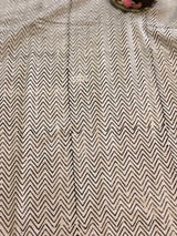 Ivory Black ZigZag Block Printed Fabric
