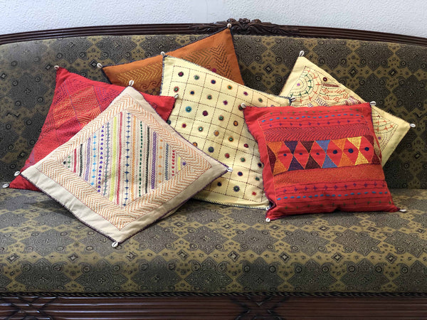 Madder Kite Hand Embroidered Cushion Cover