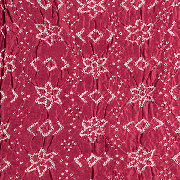 Pink Bandhej Chanderi Silk Fabric (3 meters)