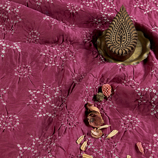 Purple -  Pink Bandhej Chanderi Silk Fabric (3 meters)