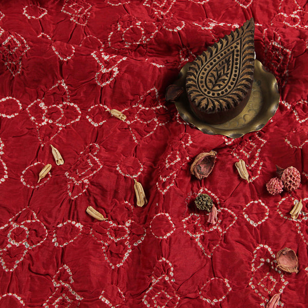 Rusty Red Chanderi Silk Fabric (3 meters)