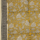 Natural Dyed Mustard Flowery Block Printed Cotton Fabric