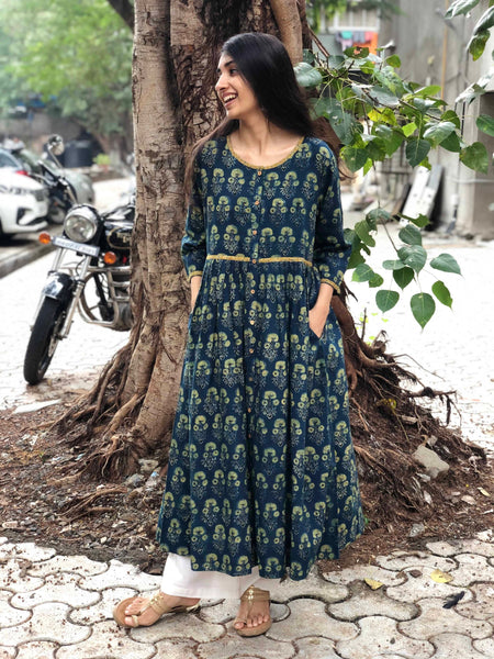 Indigo Yellow Dahlia Pleated Kurta
