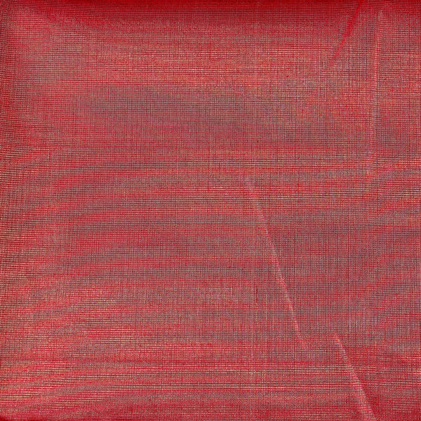 Red + Gold Tissue Silk Chanderi Fabric (4.5 meters)