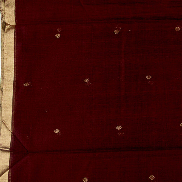 Dark Maroon Tissue Silk Chanderi Fabric