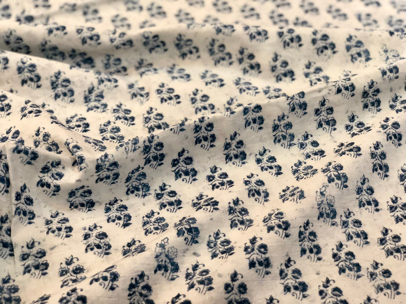Kalamkari Ivory Indigo Phool Butta Cotton Fabric