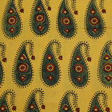 Natural Dyed Yellow Paisley Ajrakh Cotton Fabric