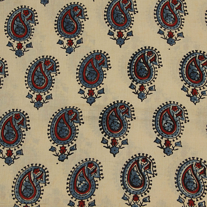 Natural Dyed Beige Indigo - Red Ajrakh Cotton Fabric