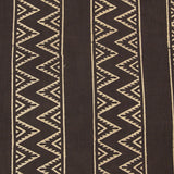 Natural Dye Brown Zigzag Hand Block Print Fabric