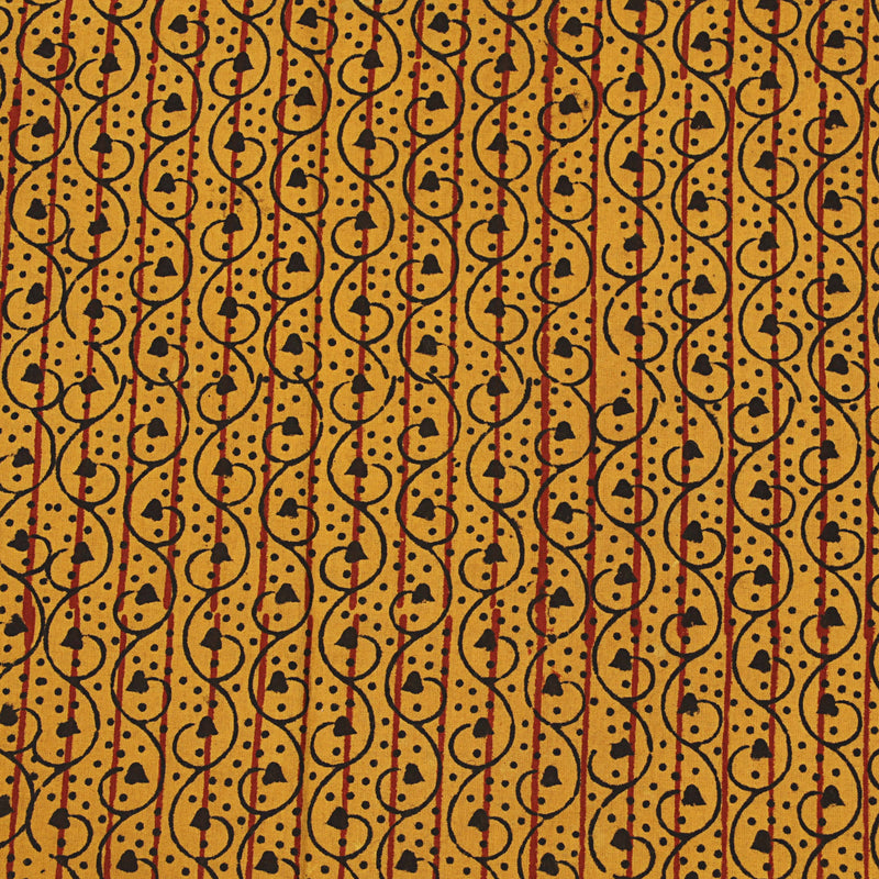 Natural Dyed Yellow Lilac Ajrakh Cotton Fabric