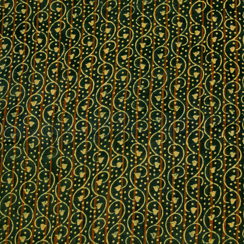 Natural Dyed Green - Yellow Lilac Ajrakh Cotton Fabric