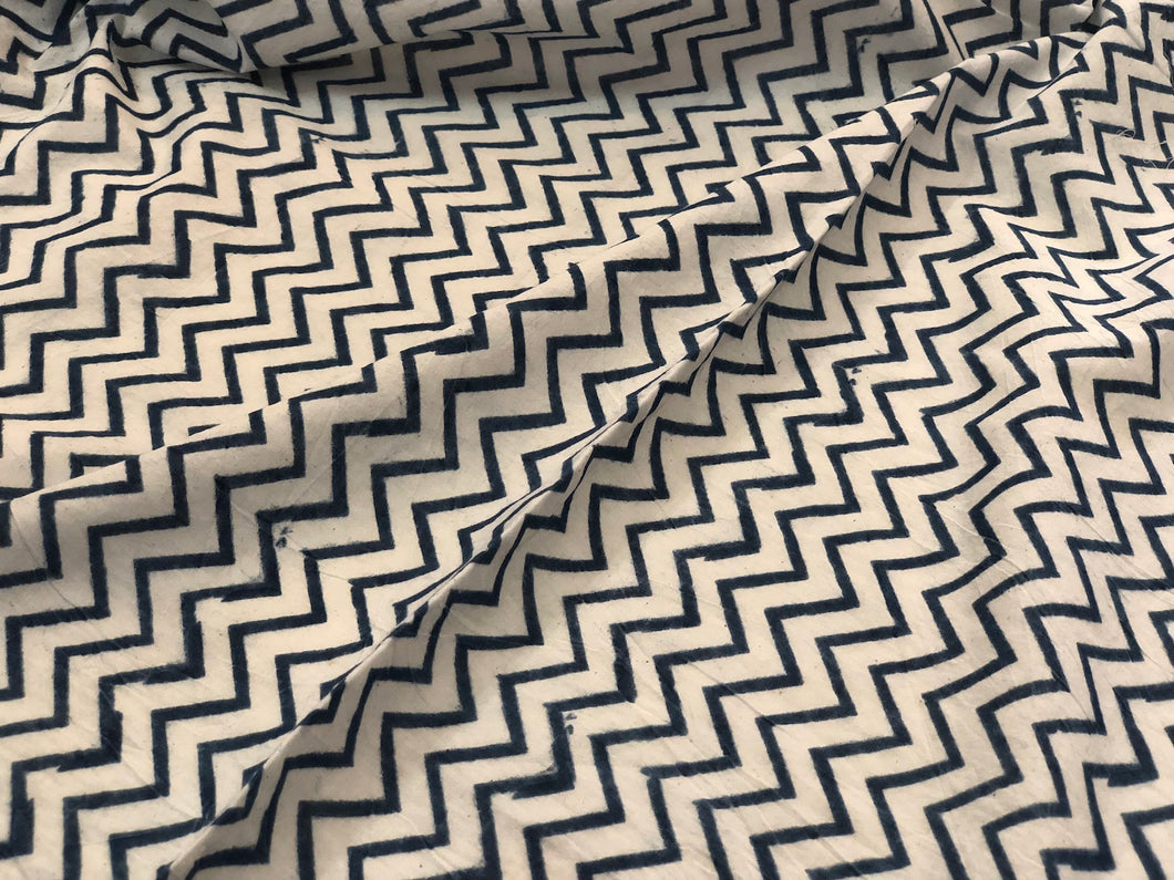 Kalamkari Ivory Indigo Chevron Cotton Fabric
