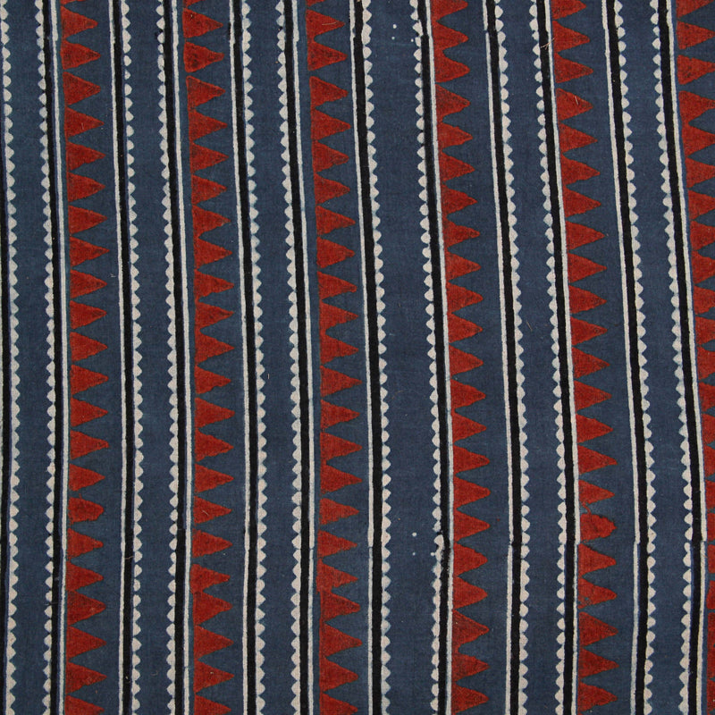 Natural Dyed Indigo - Red Triangle Ajrakh Cotton Fabric