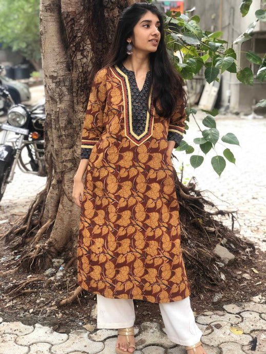 Leafy Blockprint Butti Yoke Kurta