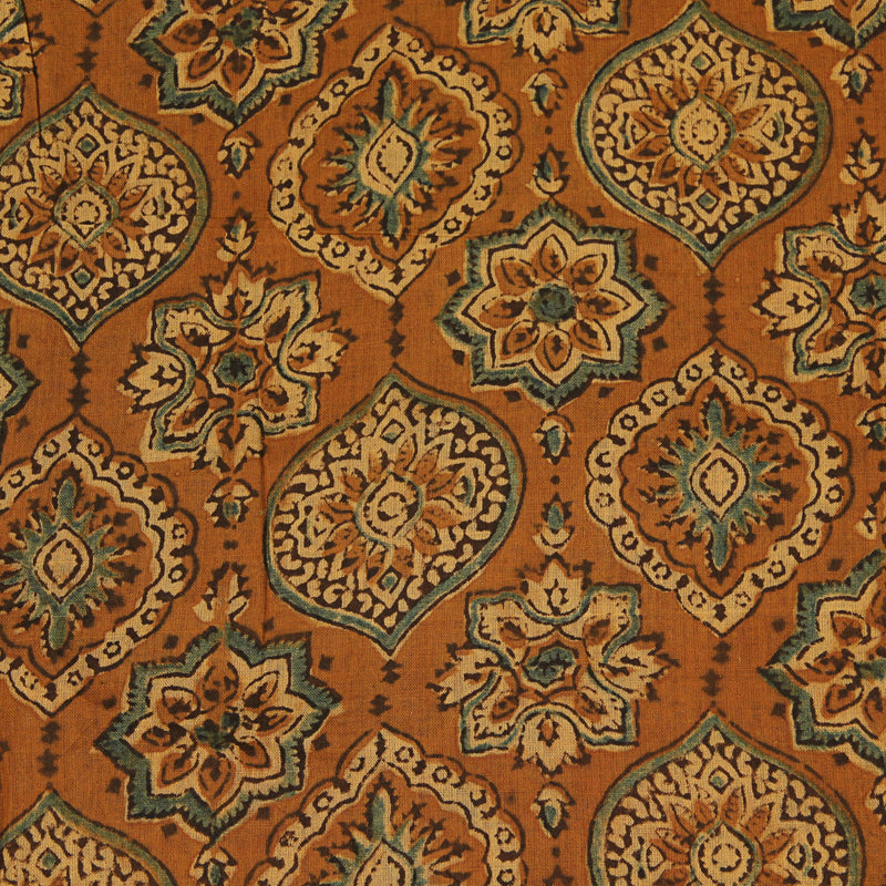 Natural Dyed Mustard Ajrakh Mul Cotton Fabric