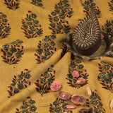 Natural Dyed Yellow Bouquet Ajrakh Mul Cotton Fabric