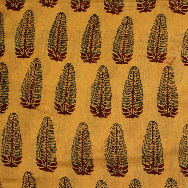 Yellow Ajrakh Mul Cotton Natural Dyed Fabric