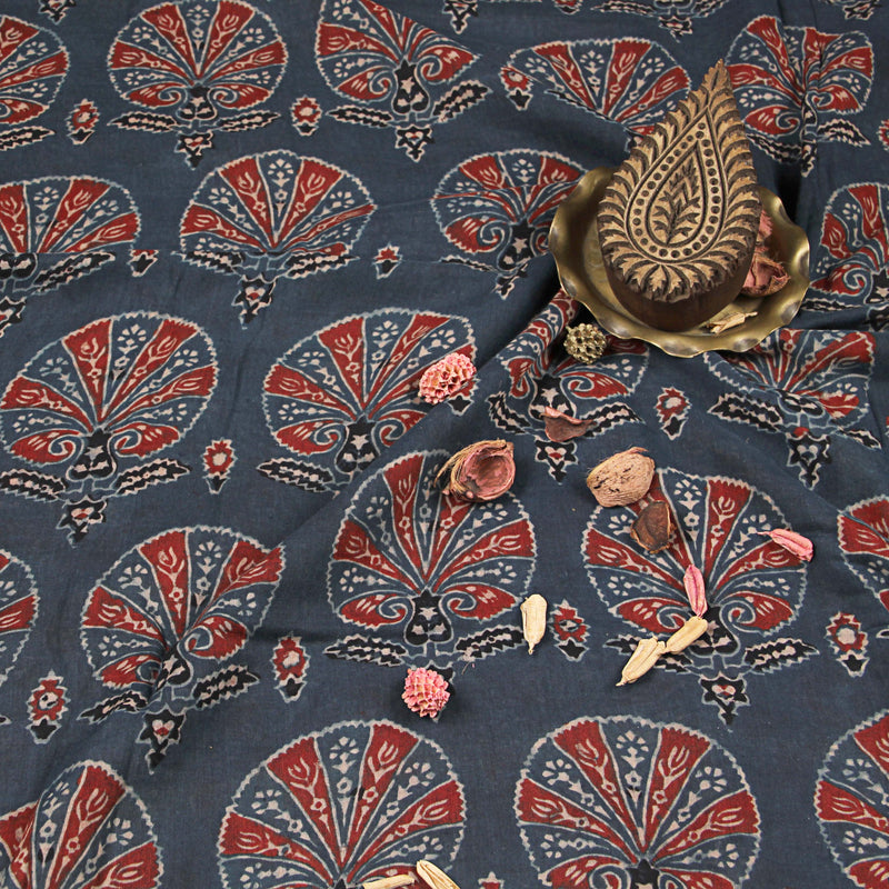 Natural Dyed Indigo Peacock Flower Ajrakh Mul Cotton Fabric