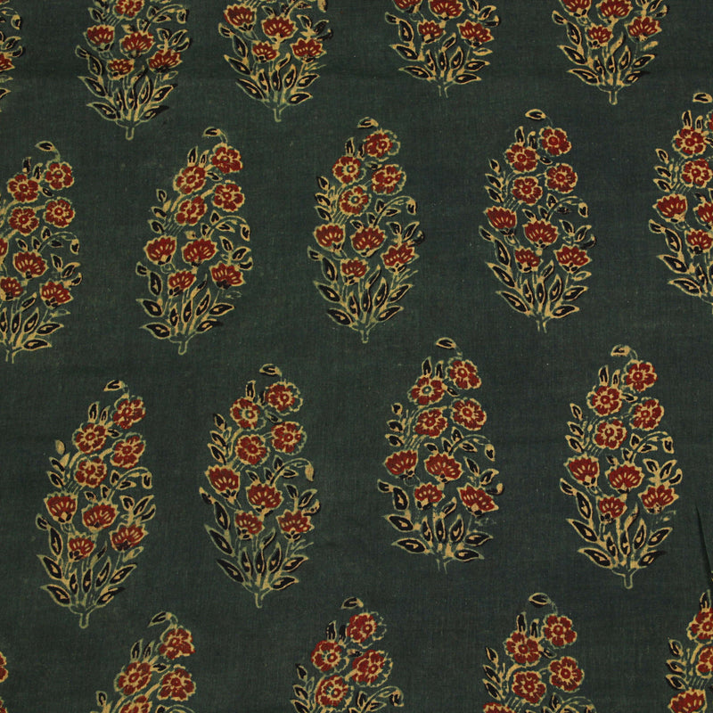 Natural Dyed Green Roses Ajrakh Mul Cotton Fabric