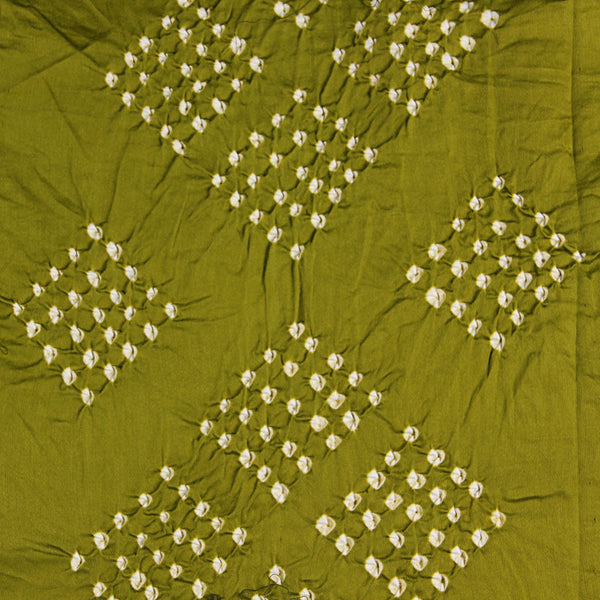 Green Square Bandhej Cotton Fabric (2.5meter)