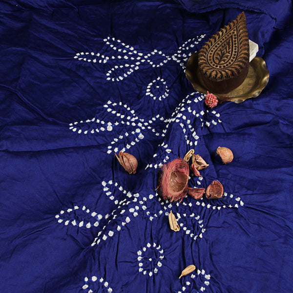 Dark Blue Bandhej Cotton Fabric (2.5meter)