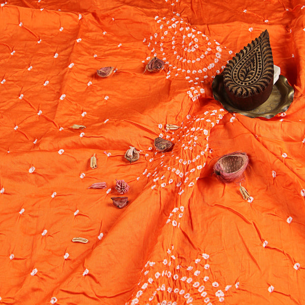 Saffron Flower Bandhej Cotton Fabric (2.5meter)