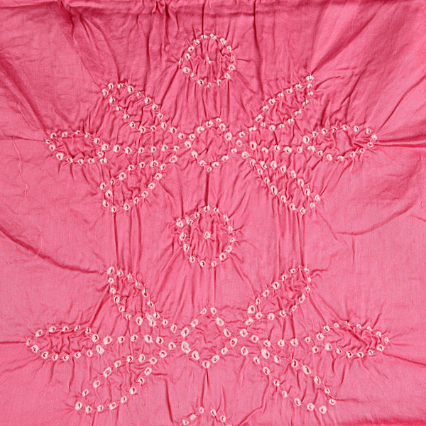 Rose Pink Bandhej Cotton Fabric (2.5meter)