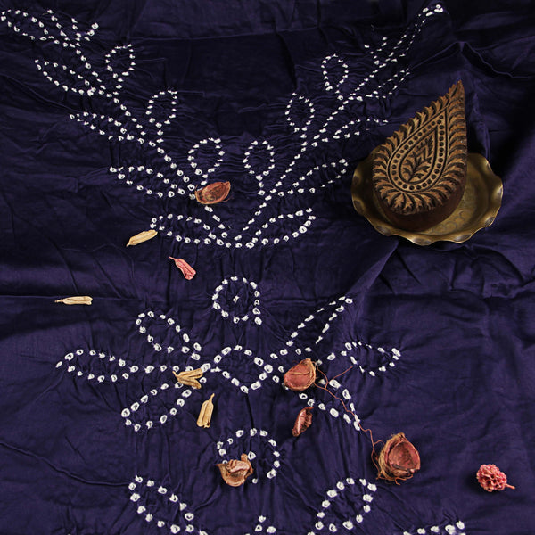 Violet Leaf Print Bandhej Cotton Fabric (2.5meter)
