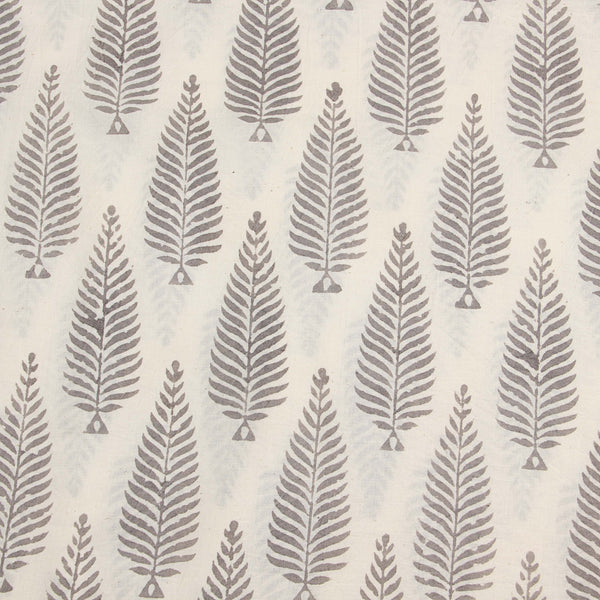 Natural Dyed White -Grey Block Printed Cotton Fabric