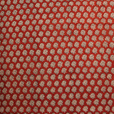Red Flower Block Printed Cotton Fabric
