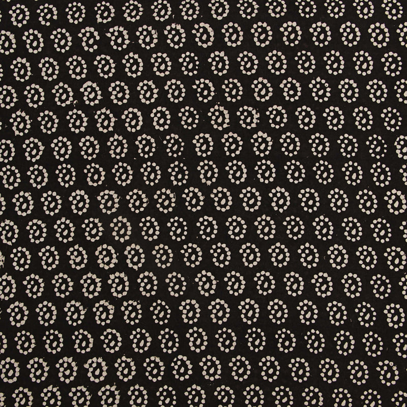 Black Paisley Dots Block Printed Cotton Fabric