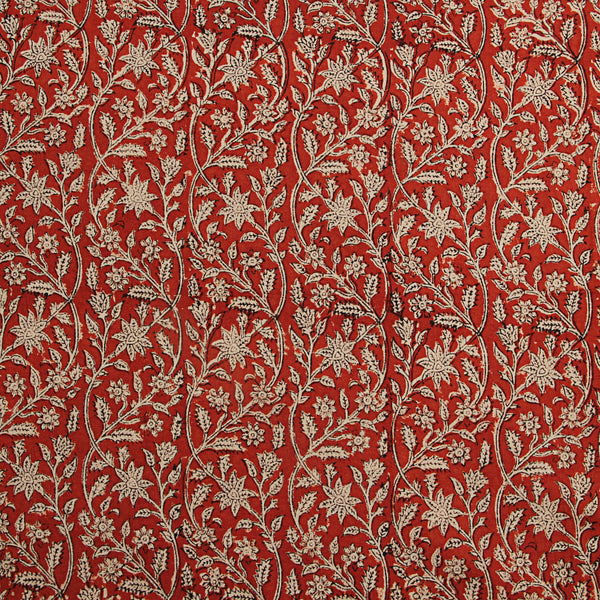 Red Floral Block Printed Cotton Fabric