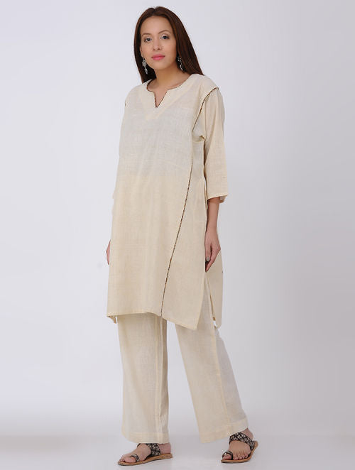 Ivory Kala Cotton Kurta with Pocket