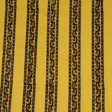Natural Dyed Yellow Small Flower Border Ajrakh Cotton Fabric