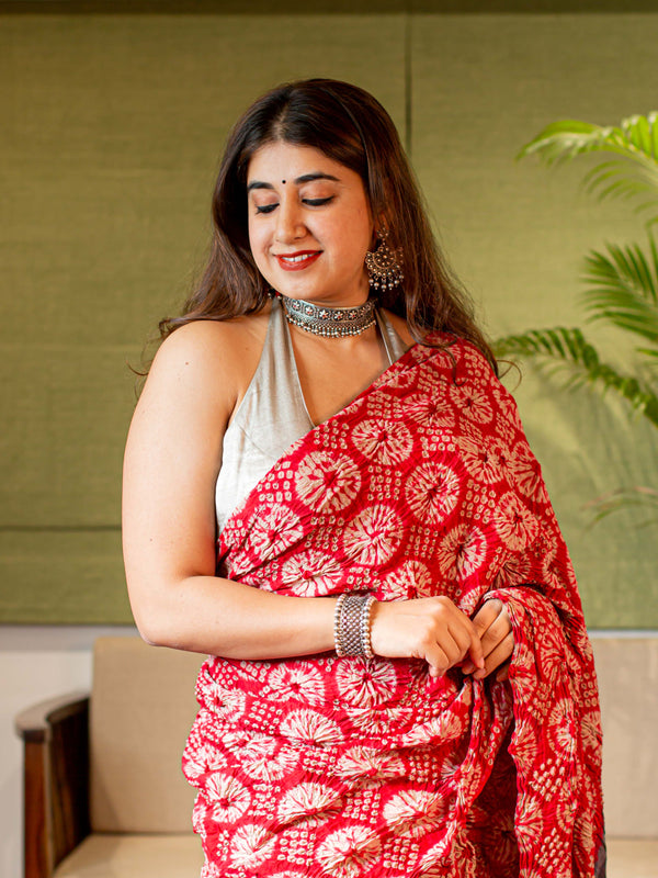 Ajrakh Bandhej Mul Cotton Saree