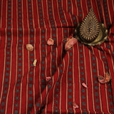 Natural Dyed Red Flower Ajrakh Cotton Fabric