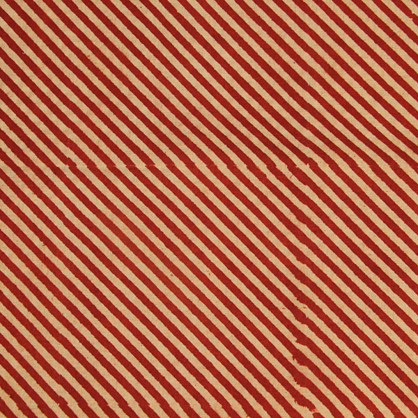 Natural Dyed Red Lines Cotton Block Print Fabric (3.80)