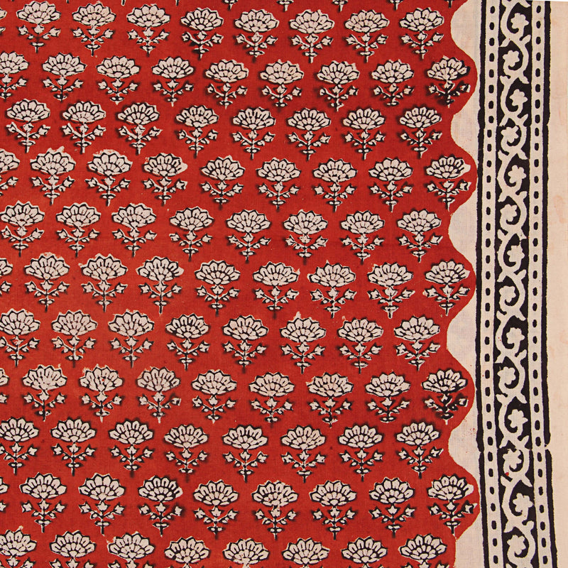 Natural Dyed Bagru Flower Hand Block Cotton Fabric