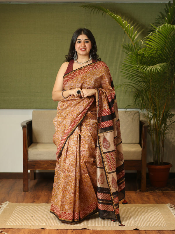 Bagru Hand Block Printed Chanderi Silk Natural Dyed Saree