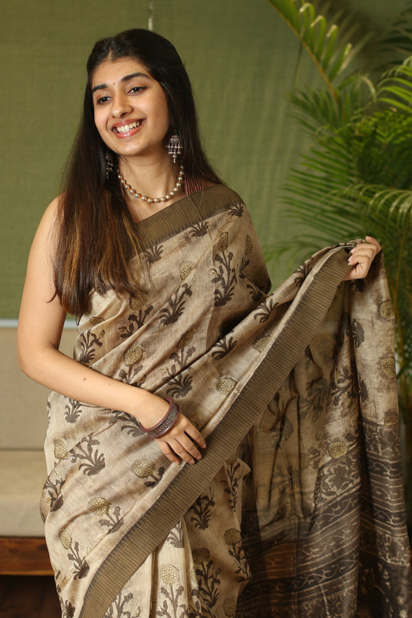 Ajrakh Dabu Chanderi  Silk Natural Dyed Saree