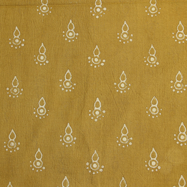 Natural Dyed Yellow Cotton Block Print Fabric