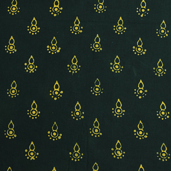 Natural Dyed Green Cotton Block Print Fabric