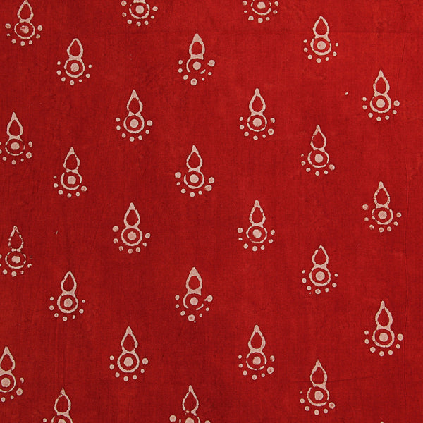 Natural Dyed Red Cotton Block Print Fabric