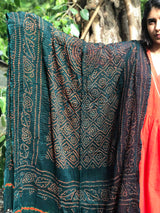 Black Greenish Bandhej Dupatta